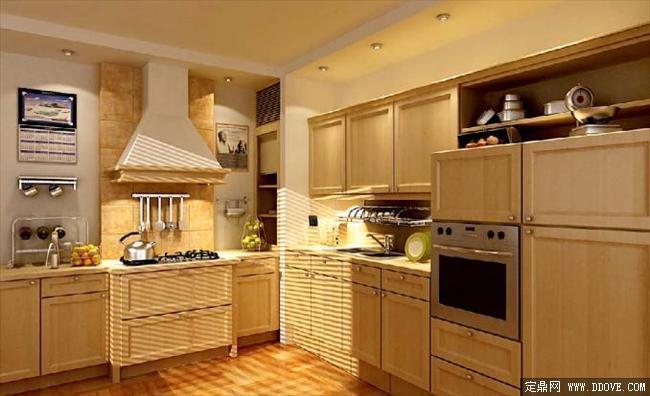 古典风格厨房室内效果图3dmax模型带材质贴图