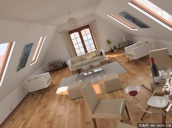 现代西式风格客厅室内装饰效果图3dmax完整场景