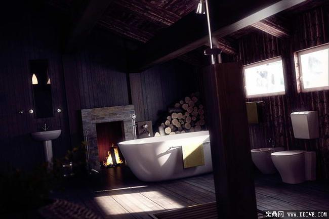 乡村风格别墅卫生间室内装饰效果图3dmax场景模型带图片