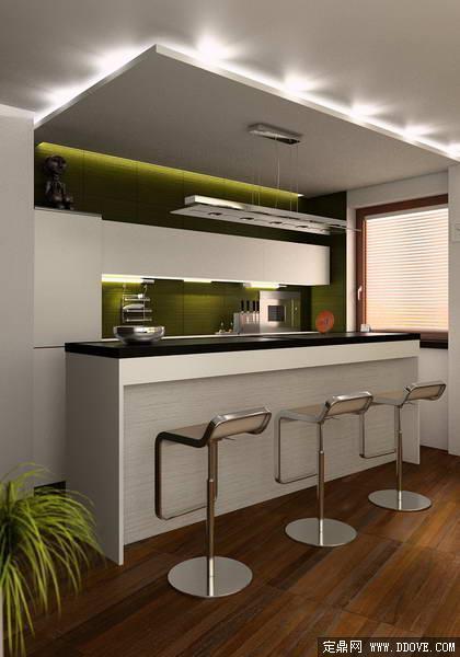 欧式开放式厨房装饰效果图3dmax场景模型完整材质