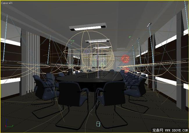 中型會議室室內裝飾效果圖3dmax模型文件