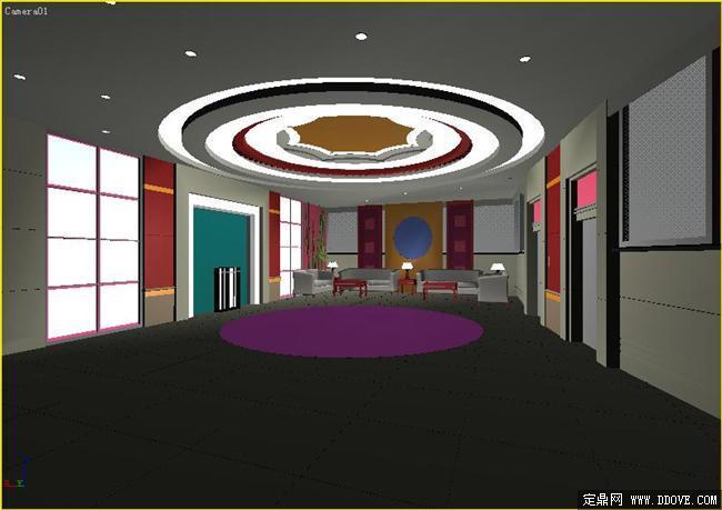 商务酒店大堂室内装饰3dmax模型库