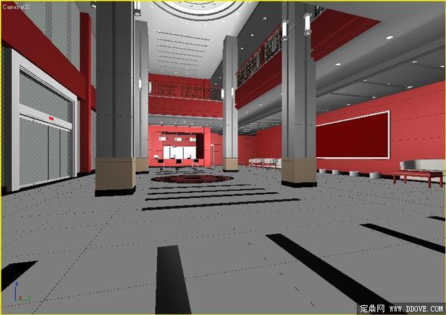 某税务局入口大厅室内装饰设计效果图3dmax模型