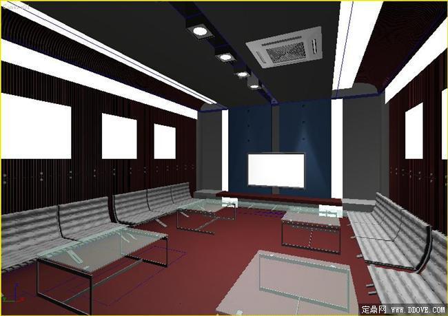 视频展示厅室内装饰效果图3dmax模型
