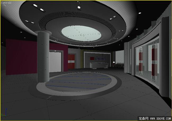 酒店空间大堂室内装饰方案3dmax模型源文件图片