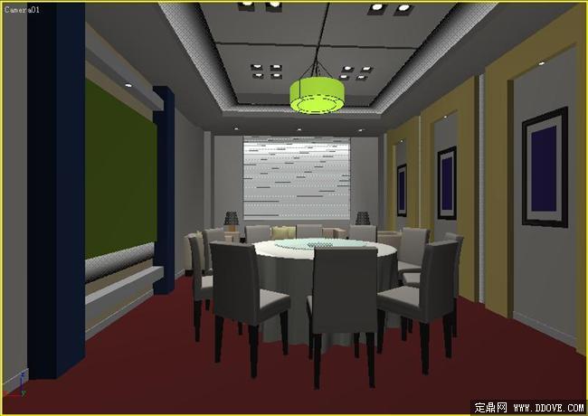 餐厅包房室内装饰效果图3dmax文件高清图片