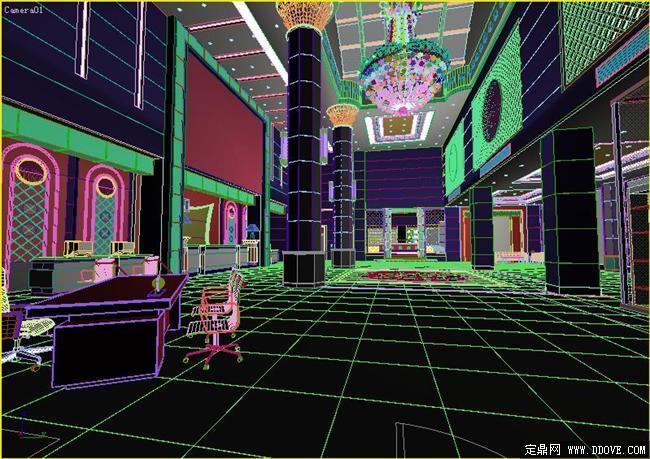 星级酒店大堂室内装饰效果3DMAX模型