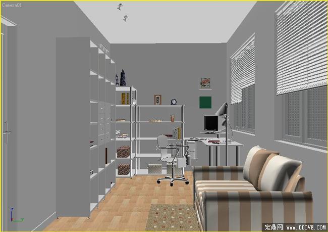 书房-043dmax模型场景文件带完整的材质贴图