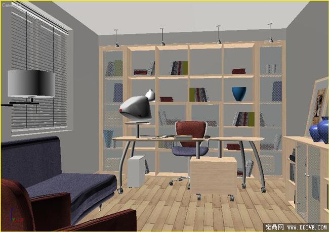 书房-313dmax模型场景文件带完整的材质贴图