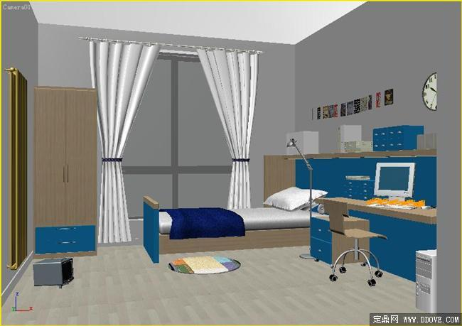 简约式风格客厅室内装饰效果图3dmax场景模型带全部图片