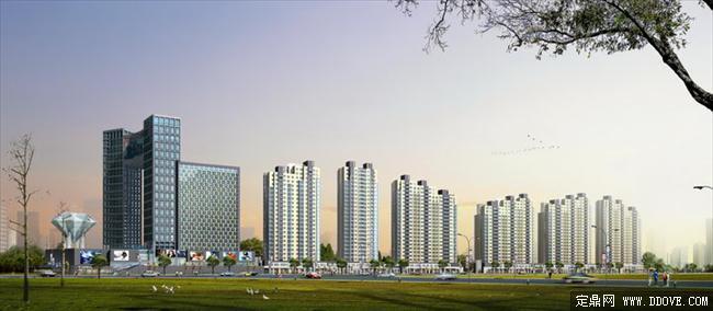 临街高层居住小区建筑设计方案效果图psd分层素材库