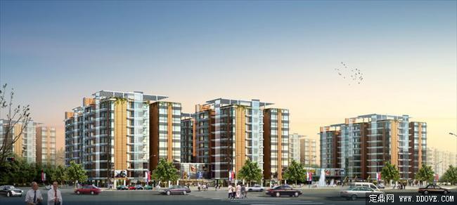 住宅小区建筑设计效果图方案psd分层素材库