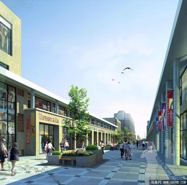 商业步行街建筑及广场铺装效果图psd分层素