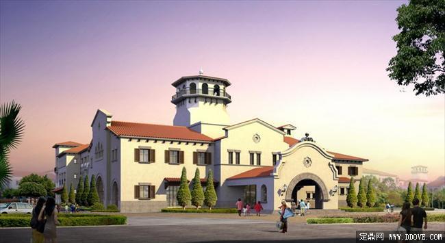 幼儿园整体规划方案建筑透视效果图psd分层素材库