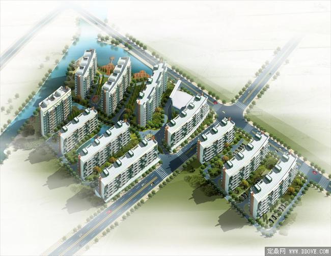 某居住小区建筑鸟瞰效果图psd分层素材库