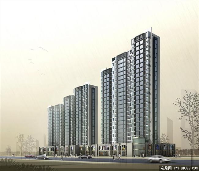 某高层住宅小区建筑效果图psd分层素材库