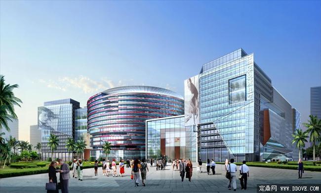 大型购物中心建筑设计效果图psd分层素材库