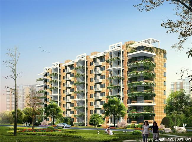 小高层住宅小区单体建筑效果图PSD分层素材库