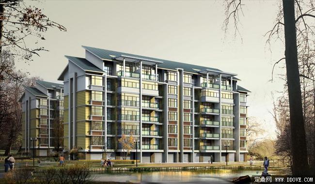 小高层住宅小区建筑效果图 江西吉安rs01psd分层素材库 高清图片