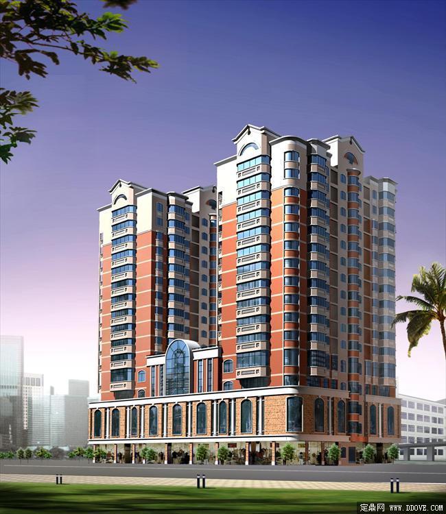 单栋高层住宅建筑透视效果图-psd分层素材模板