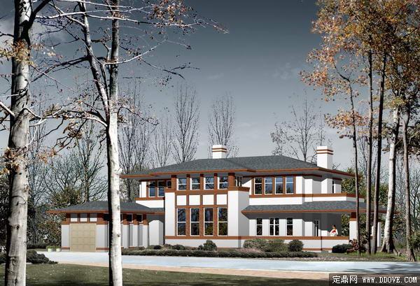 古典式豪华别墅庭院建筑景观效果图-psd分层素材模板