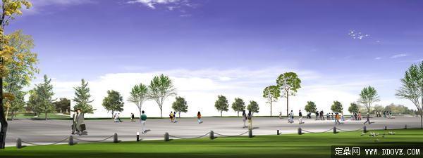 城市市民休闲广场景观道路绿化方案效果图 psd分层素材模板