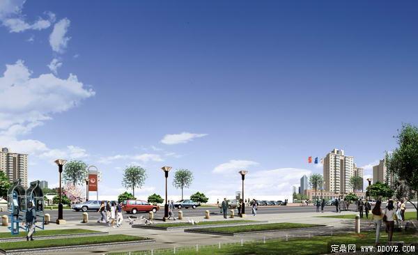 城市主干道 道路景观 绿化 方案 效果图 psd分层