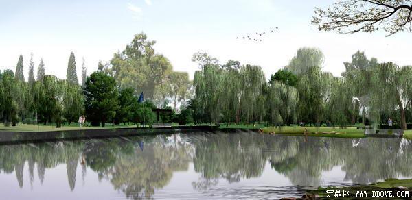 城市生态公园滨水景观带河岸绿化方案效果图-psd分层