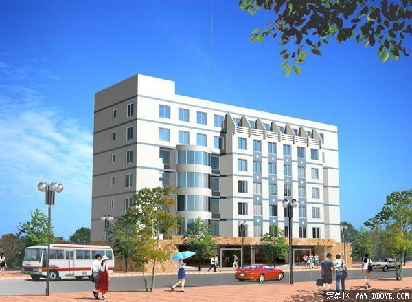 政府办公大楼建筑效果图-psd分层素材模板