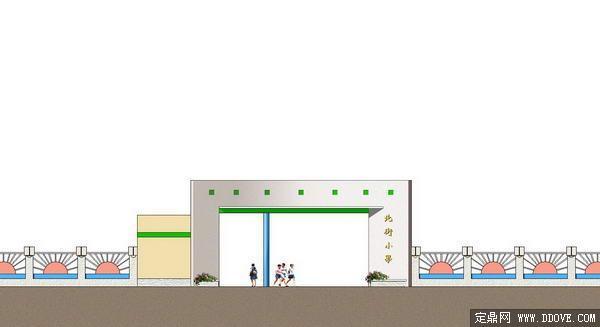某小学大门里面效果图-psd分层素材模板