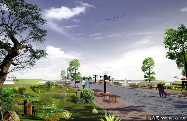 生态公园道路景观绿化方案效果图 PSD分层素材模板