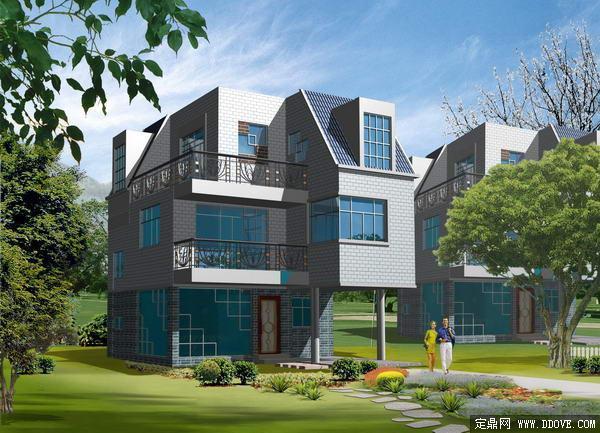 欧式别墅庭院建筑设计方案效果图-psd分层素材模板