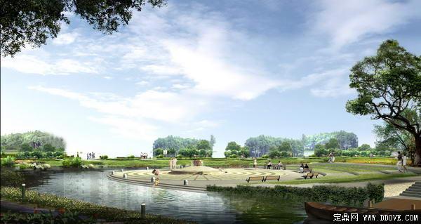 郊野生态公园滨水休闲小广场透视景观效果图-psd分层