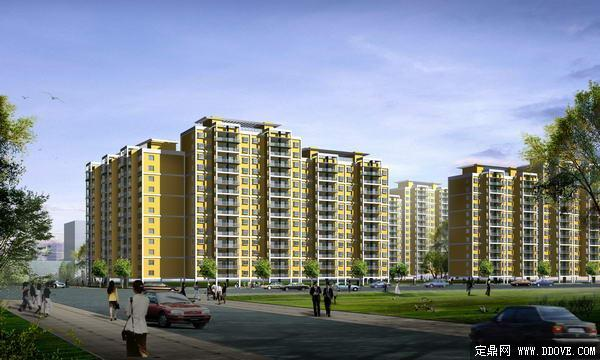 现代居住 小区 小高层住宅楼建筑透视效果 图 ps