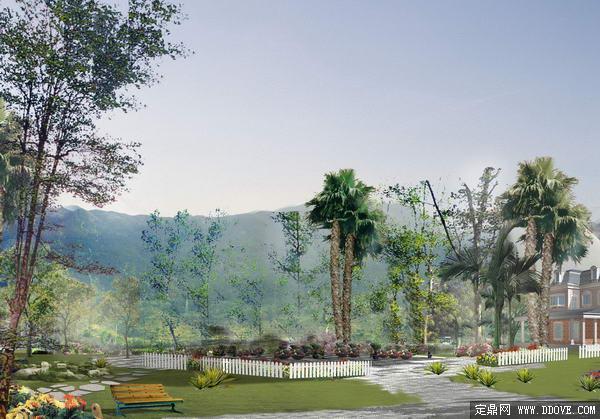 私家别墅 庭院 景观绿化方案 效果图 psd分层 素材