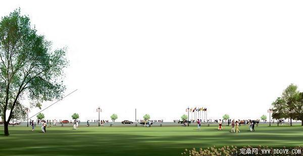 广场效果图素材篇草坪素材-人物素材-植物素材-psd