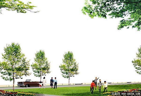 广场效果图素材之前景树-人物素材-植物草坪素材-psd分层素材模板