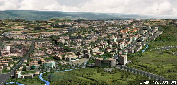 小镇城市规划方案鸟瞰效果图 psd分层素材模板