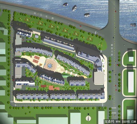 某滨水住宅小区规划方案平面效果图-psd分层素材模板