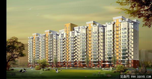 连排高层住宅小区建筑设计方案-psd分层素材模板