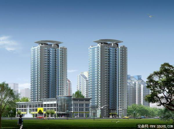 高层住宅建筑单体效果图方案-psd分层素材模板