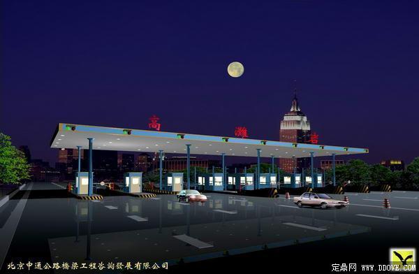 高速公路收费站夜景效果图-psd分层素材模板