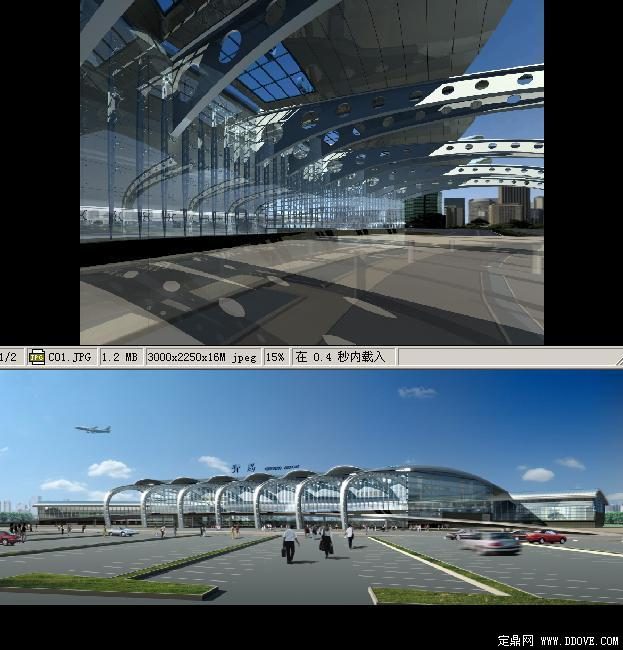 青岛流亭机场航站楼建筑模型3dmax源文件及后期psd图