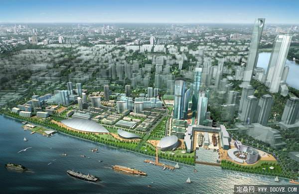 大型城市中心区域大型住宅小区总体规划方案鸟瞰效果