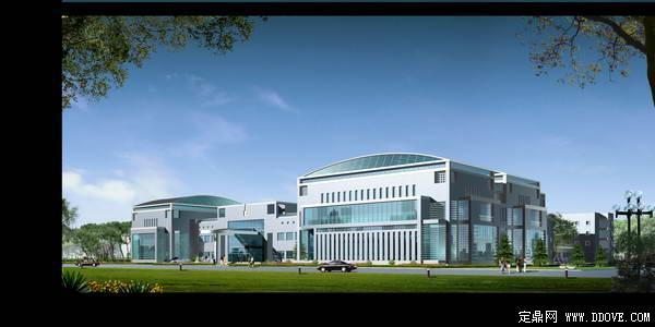 大型集团公司办公中心建筑景观透视效果图——psd