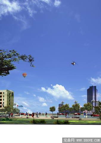 城市滨水景观小广场透视效果图——psd分层模板素材