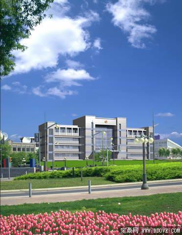 政府办公大楼建筑景观设计方案效果图 psd分层模板素材