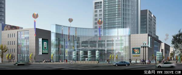 某大型商场建筑外景建筑效果图——psd分层模板素材
