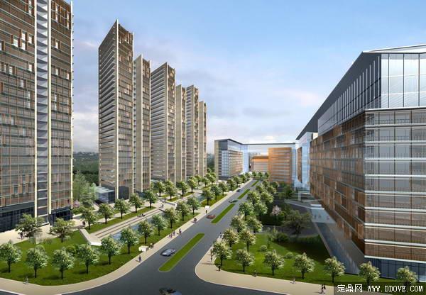 某市cbd商务中心道路景观及高层建筑设计方案效果图