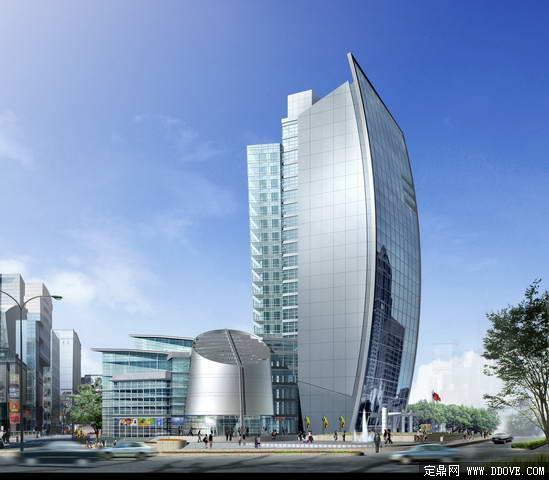 商务办公中心建筑设计方案效果图——psd分层模板